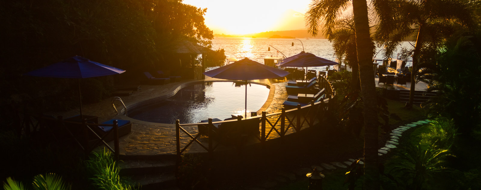 Lembeh Resort Pool at Sunset