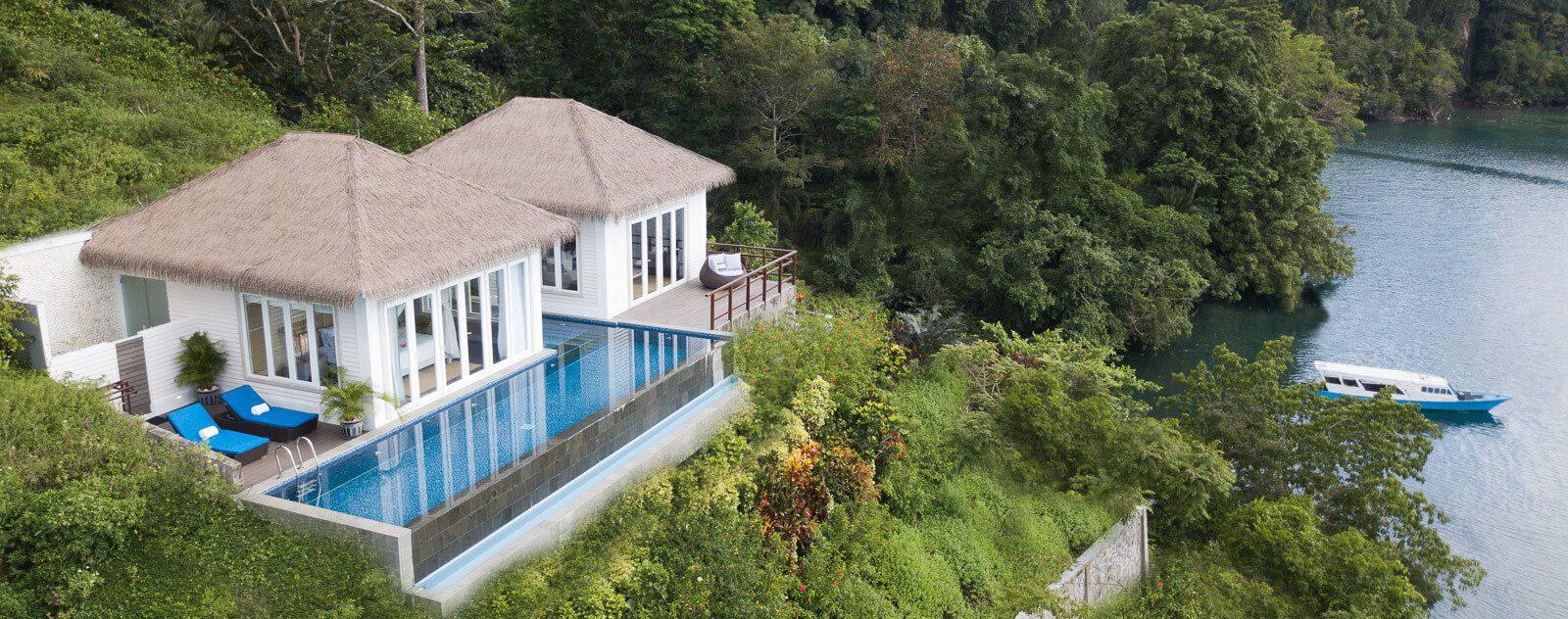 Aerial photo of the Cliffside Villa at Lembeh Resort